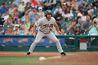 Tri-City ValleyCats Matthew Barefoot (34) leads off first base during a NY-Penn League game against the Brooklyn Cyclones on August 17, 2019 at MCU Park in Brooklyn, New York.  The game was postponed due to inclement weather, Brooklyn defeated Tri-City 2-1 in the continuation of the game on August 18th.  (Mike Janes/Four Seam Images)