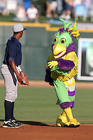 Mascot BirdZerk! trying to get Beloit Snappers second baseman Reggie Williams #18 to dance during a game against the Great Lakes Loons at Dow Stadium on July 22, 2011 in Midland, Michigan.  Great Lakes defeated Beloit 5-2.  (Mike Janes/Four Seam Images)