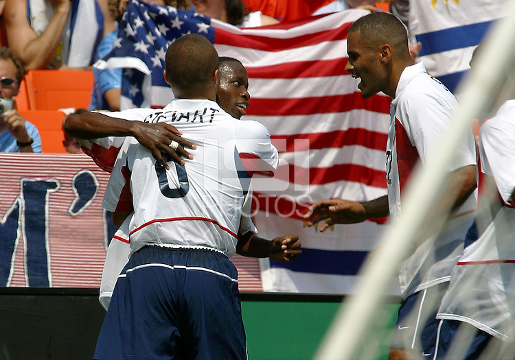Earnie Stewart, left, Damarcus Beasley, middle, Tony Sanneh, right, Uruguay vs USA, 2002.