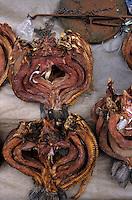 Asie/Birmanie/Myanmar/Yangon: Theingyi Zei Market ou marché indien - Etal poulpes séchés