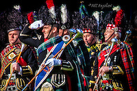 Braemar Gathering Royal Salute. The massed pipe bands salute The Royal Family at Braemar Highland Games