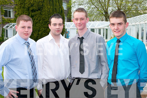 Students from Killarney Community College pictured at the Young Entrepreneur Awards in the Malton Hotel on Thursday evening, from left: Kevin OSullivan, Donal Cronin, Gerard Kerins and Denis Kerrisk..