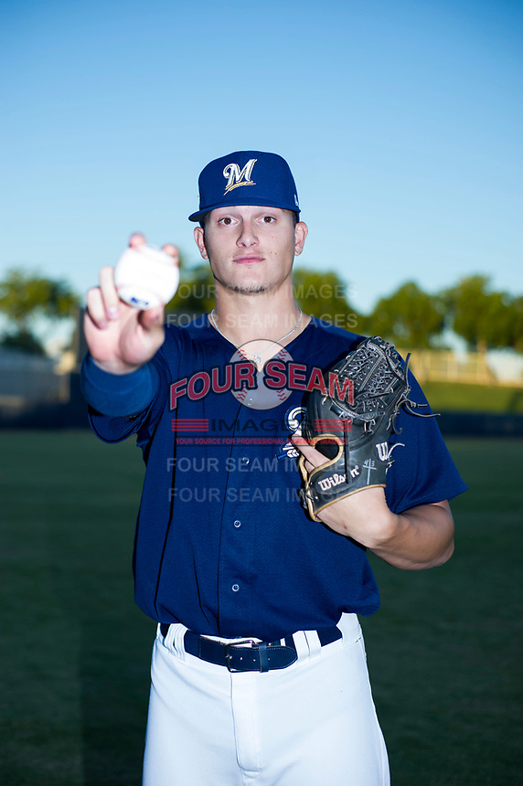 AZL Brewers Landon Holifield (46) poses for a photo before a game against the AZL Cubs on August 24, 2017 at Maryvale Baseball Park in Phoenix, Arizona. AZL Cubs defeated the AZL Brewers 9-1. (Zachary Lucy/Four Seam Images)