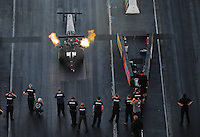 Jan. 20, 2012; Jupiter, FL, USA: Aerial view of NHRA top fuel dragster driver Hillary Will during testing at the PRO Winter Warmup at Palm Beach International Raceway. Mandatory Credit: Mark J. Rebilas-