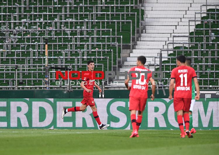 Jubel nach dem 1:2: Torschuetze Kai Havertz (Leverkusen)  vor leeren Raengen.<br /><br />Sport: Fussball: 1. Bundesliga: Saison 19/20: 26. Spieltag: SV Werder Bremen - Bayer 04 Leverkusen, 18.05.2020<br /><br />Foto: Marvin Ibo GŸngšr/GES /Pool / via gumzmedia / nordphoto
