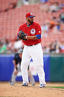 Buffalo Bisons relief pitcher Dustin Antolin (39) gets ready to deliver a pitch during a game against the Scranton/Wilkes-Barre RailRiders on July 2, 2016 at Coca-Cola Field in Buffalo, New York.  Scranton defeated Buffalo 5-1.  (Mike Janes/Four Seam Images)