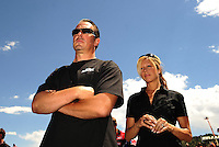 Jul. 23, 2011; Morrison, CO, USA: NHRA funny car driver Jeff Diehl (left) and wife Leeza Diehl during qualifying for the Mile High Nationals at Bandimere Speedway. Mandatory Credit: Mark J. Rebilas-