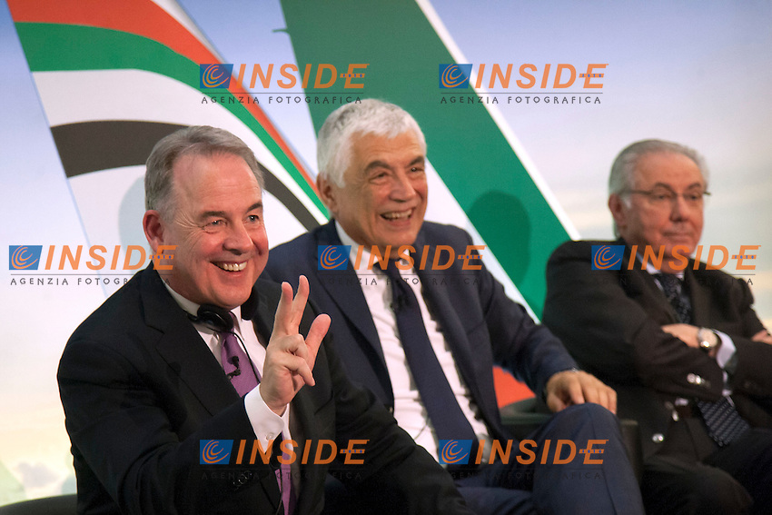 James Hogan, Gabriele Del Torchio e Roberto Colaninno<br /> Roma 08-08-2014  Hotel Eden. Firma dell'accordo Ethiad-Alitalia con la quale Ethiad possiede il 49% di Alitalia<br /> Signature of the partnership of Ethiad and Alitalia. Ethiad owns now 49% of Alitalia<br /> Photo Samantha Zucchi Insidefoto