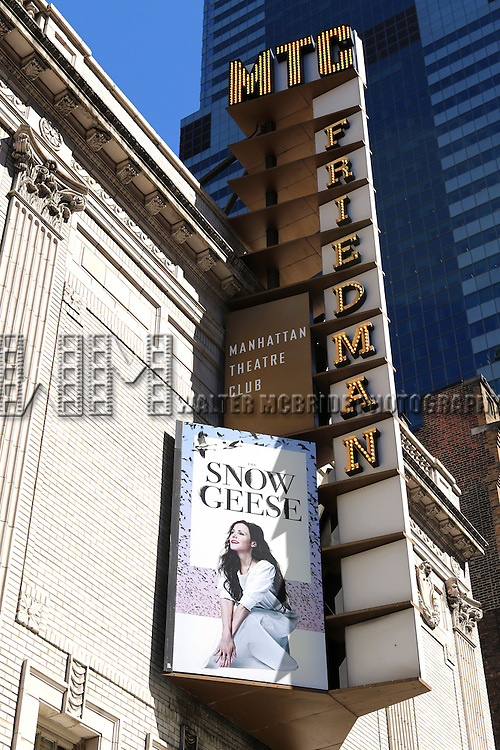 Theatre Marquee for the Manhattan Theatre Club Production of the Sharr White drama 'The Snow Geese' starring Mary-Louise Parker, Danny Burstein and Victoria Clark under the direction of  Daniel Sullivan at Samuel J. Friedman Theatre on September 29, 2013 in New York City.
