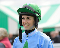 Jockey Kate Leahy during Racing at Salisbury Racecourse on 5th September 2019