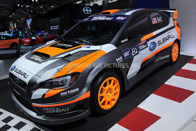 WWW.ACEPIXS.COM<br /> April 1, 2015 New York City<br /> <br /> The Subaru 2015 WRX STI Rallycross car at the New York International Auto Show at the Jacob K. Javits Convention Center on  April 1, 2015 in New York City.<br /> <br /> Please byline: Kristin Callahan/AcePictures<br /> <br /> ACEPIXS.COM<br /> <br /> Tel: (646) 769 0430<br /> e-mail: info@acepixs.com<br /> web: http://www.acepixs.com