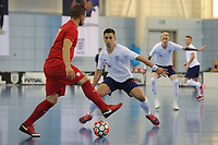 Sebastian Leszczak of Poland controls the ball from Douglas Reed of England during England vs Poland, International Futsal Friendly at St George's Park on 2nd June 2018