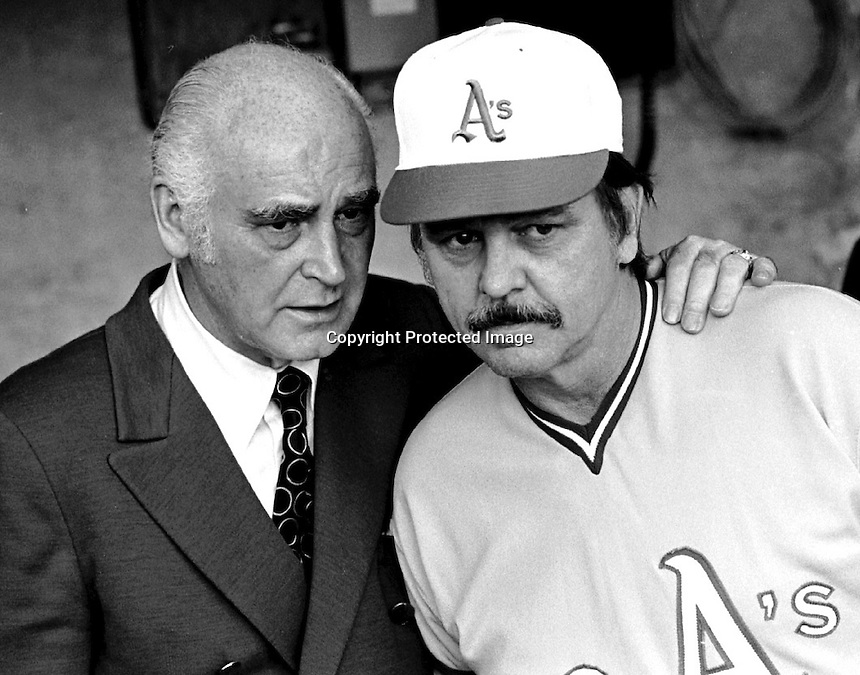 A's Owner Charlie Finley with his manager Dick Williams in 1972. photo Ron Riesterer/Oakland Tribune