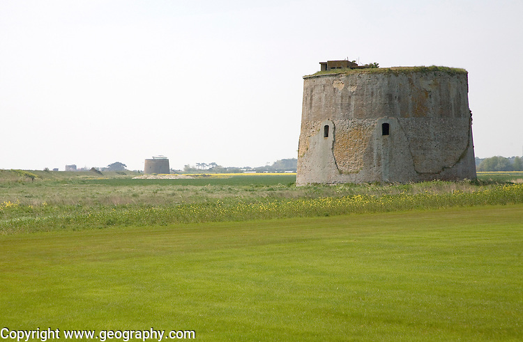 Martello tower stands in field at Alderton, Suffolk, England
