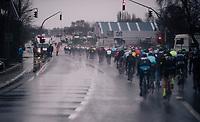super wet peloton<br /> <br /> 73rd Dwars Door Vlaanderen 2018 (1.UWT)<br /> Roeselare - Waregem (BEL): 180km