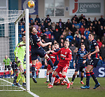 08.03.2020: Ross County v Rangers: Iain Vigurs heads over his own bar