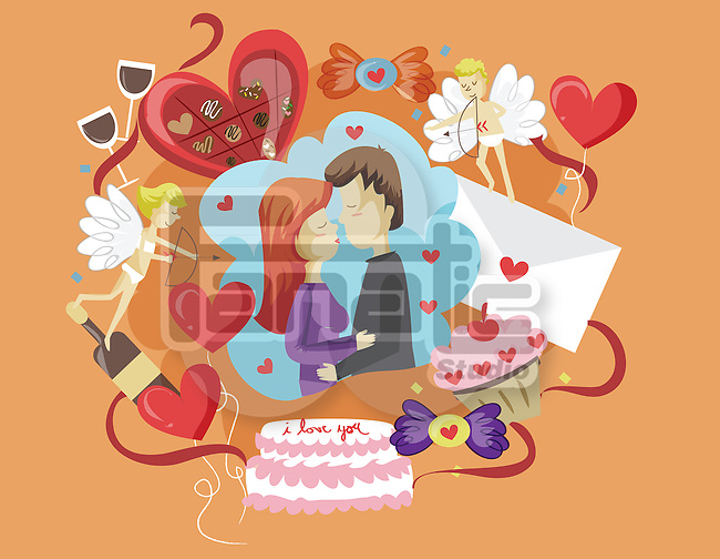 Illustration of couple kissing representing Valentine's day
