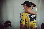 Christopher Froome (GBR) Team Sky hugs team mate Luke Rowe (WAL) after winning his 4th Tour de France at the end of Stage 21 of the 104th edition of the Tour de France 2017, an individual time trial running 1.3km from Montgeron to Paris Champs-Elysees, France. 23rd July 2017.<br /> Picture: ASO/Thomas Maheux | Cyclefile<br /> <br /> <br /> All photos usage must carry mandatory copyright credit (&copy; Cyclefile | ASO/Thomas Maheux)