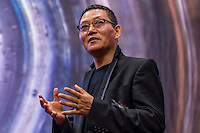 Tibetan born, British artist Gonkar Gyatso attends a workshop, lecture and reception of Meditations on Irony exhibition during the SCAD de Fine ART event at SCAD University Hong Kong on February 18 2014 in Hong Kong, China SAR. Photo by Xaume Olleros / Studio East