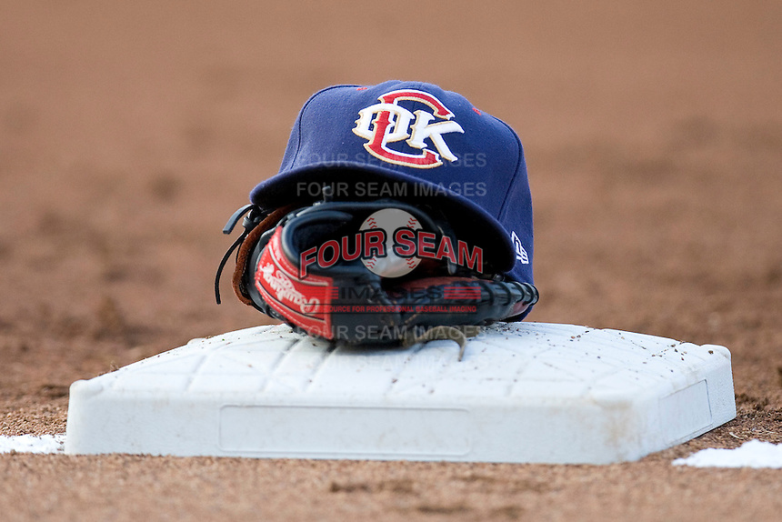 Oklahoma CIty RedHawks hat on Tuesday August 24th, 2010 at the Dell Diamond in Round Rock, Texas.  (Photo by Andrew Woolley / Four Seam Images)