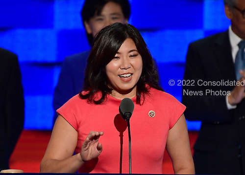 United States Representative Grace Meng (Democrat of New York) makes remarks during the third session of the 2016 Democratic National Convention at the Wells Fargo Center in Philadelphia, Pennsylvania on Wednesday, July 27, 2016.<br /> Credit: Ron Sachs / CNP<br /> (RESTRICTION: NO New York or New Jersey Newspapers or newspapers within a 75 mile radius of New York City)