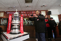 Kingstonian fans take photos of the FA Cup during Kingstonian vs AFC Fylde, Emirates FA Cup Football at King George's Field on 30th November 2019