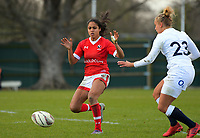 Magali Harvey chases a kick during the 2017 International Women's Rugby Series rugby match between England Roses and Canada at Rugby Park in Christchurch, New Zealand on Tuesday, 13 June 2017. Photo: Dave Lintott / lintottphoto.co.nz