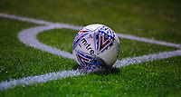 A close up of a Mitre Delta official EFL match football<br /> <br /> Photographer Chris Vaughan/CameraSport<br /> <br /> The EFL Checkatrade Trophy Group H - Lincoln City v Mansfield Town - Tuesday September 4th 2018 - Sincil Bank - Lincoln<br />  <br /> World Copyright © 2018 CameraSport. All rights reserved. 43 Linden Ave. Countesthorpe. Leicester. England. LE8 5PG - Tel: +44 (0) 116 277 4147 - admin@camerasport.com - www.camerasport.com