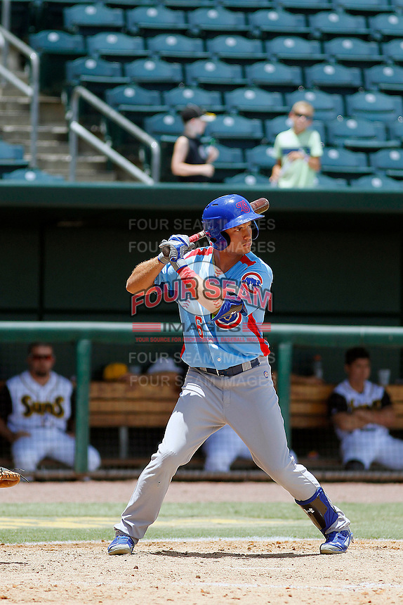 Tennessee Smokies pinch hitter Albert Almora Jr. (6) at bat during a game against the Jacksonville Suns at Bragan Field on the Baseball Grounds of Jacksonville on June 13, 2015 in Jacksonville, Florida.  Tennessee defeated Jacksonville 12-3. (Robert Gurganus/Four Seam Images)