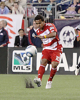 FC Dallas forward David Ferreira(10) passes the ball deep into the midfield.  The New England Revolution drew FC Dallas 1-1, at Gillette Stadium on May 1, 2010