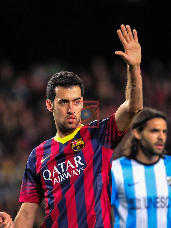 League BBVA 2013/2014 - Game: 21.<br /> FC Barcelona vs Malaga CF: 3-0.<br /> Sergio Busquets.