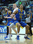 January 14, 2017:  San Jose State guard, Brandon Clarke #15, and Falcon center, Frank Toohey #33, battle for rebound position during the NCAA basketball game between the San Jose State Spartans and the Air Force Academy Falcons, Clune Arena, U.S. Air Force Academy, Colorado Springs, Colorado.  San Jose State defeats Air Force 89-85.