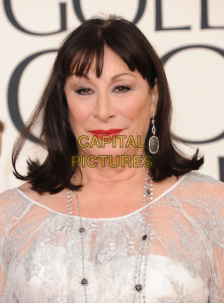 Anjelica Huston .Arrivals at the 70th Annual Golden Globe Awards held at the Beverly Hilton Hotel, Hollywood, California, USA..January 13th, 2013.globes headshot portrait red lipstick lace white lace top silver necklace  .CAP/GAG.©GAG/Capital Pictures