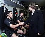 NZ Prime Minister Helen Clark congratulates Dan Carter, with Richie McCaw (centre) following the All Blacks v Australia Philips Tri Nations Test match. Eden Park, Auckland, New Zealand. Saturday 21 July 2007.