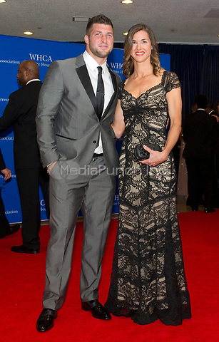 Tim Tebow and Katie Shepherd arrive for the 2014 White House Correspondents Association Annual Dinner at the Washington Hilton Hotel on Saturday, May 3, 2014.<br /> Credit: Ron Sachs / CNP<br /> (RESTRICTION: NO New York or New Jersey Newspapers or newspapers within a 75 mile radius of New York City) /MediaPunch