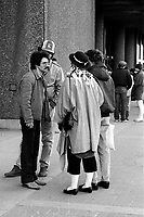 April 1st 1984 File Photo - Montreal, Quebec, Costumed fans wait outside the Montreal Forum for Boy George first concert of the 1984 tour