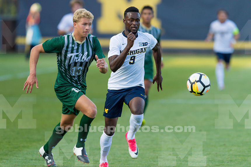 The University of Michigan men's soccer team, 1-0 victory over William and Mary at the Michigan Soccer Stadium in Ann Arbor, Mich., on August. 25, 2017.