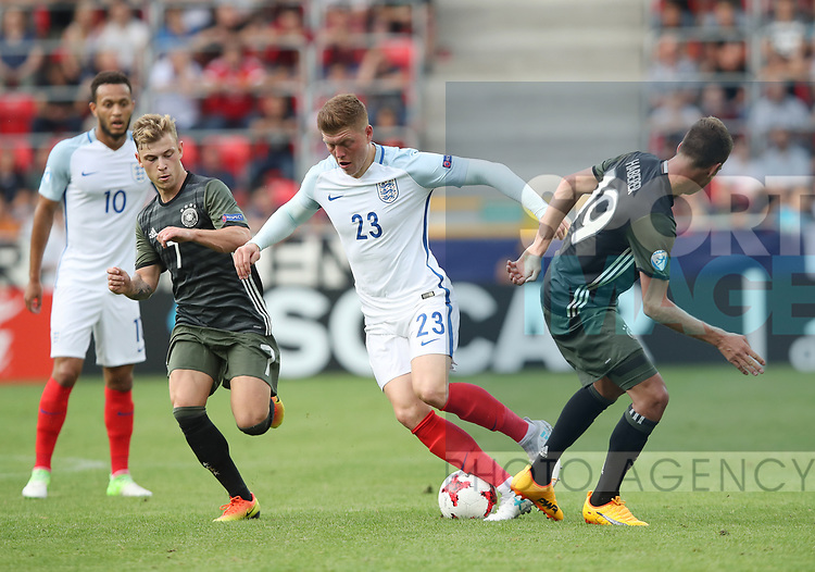 England's Alfie Mawson tussles with Maxmilian Meyer of Germany during the UEFA Under 21 Semi Final at the Stadion Miejski Tychy in Tychy. Picture date 27th June 2017. Picture credit should read: David Klein/Sportimage