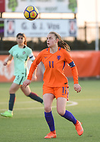 20180326 - VEEN , THE NETHERLANDS : Dutch Romee Leuchter  pictured during the UEFA Women Under 17 Elite round game between The Netherlands WU17 and Portugal WU17, on the second matchday in group 1 of the Uefa Women Under 17 elite round in The Netherlands , monday 26 th March 2018 . PHOTO SPORTPIX.BE    DIRK VUYLSTEKE
