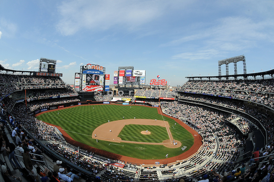 An overall view of Citi Field in New York, during a game between the New York Mets and the Washington Nationals on April 26, 2009. (AP Photo/Chris Bernacchi)