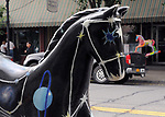 "A view of ""Rockin' Horse Constellation"" created by, Ellse Adewlle Westlund, at 248 Main Street, one of the ""Rockin' Around Saugerties"" theme Statues on display throughout the Village of Saugerties, NY, on Friday, June 9, 2017. Photo by Jim Peppler. Copyright/Jim Peppler-2017."