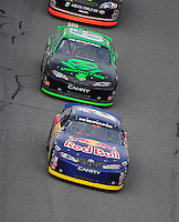 Feb 9, 2008; Daytona, FL, USA; ARCA RE/MAX Series driver Scott Speed (2) leads Justin Marks (65) during the ARCA 200 at Daytona International Speedway. Mandatory Credit: Mark J. Rebilas-US PRESSWIRE