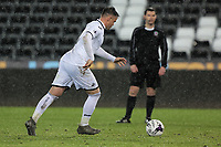 Pictured: Matthew Blake of Swansea takes a penalty. Tuesday 01 May 2018<br /> Re: Swansea U19 v Cardiff U19 FAW Youth Cup Final at the Liberty Stadium, Swansea, Wales, UK