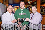 Pictured at the launch of the Murphy Cup Dars Final in Murphys Bar, Killarney on Monday night were Sean Murphy, Murphys Bar, Stephen O'Neill, 2011 winner and Denis Brosnan, Murphys Bar. The draw will take place on the 27th December with the competition starting on the 3rd January 2012.