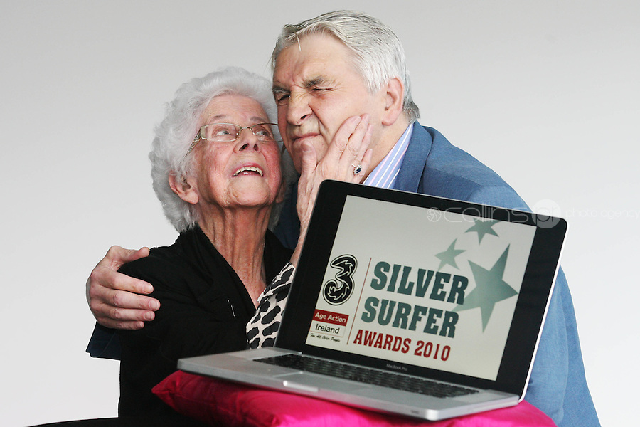 """22/9/2010. Silver Surfer Awards. Fair City actors Jim Bartley (Bela Doyle) and 96-year-old Marguerite Faulkner from Tyrone last years award winner are pictured at the Science Gallery Dublin to encouraging all seniors to """"ride the wave"""" of new technologies as they help 3 and Age Action Ireland launch the search for Ireland's biggest """"Silver Surfers"""".Picture James Horan/Collins Photos"""