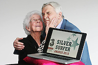 "22/9/2010. Silver Surfer Awards. Fair City actors Jim Bartley (Bela Doyle) and 96-year-old Marguerite Faulkner from Tyrone last years award winner are pictured at the Science Gallery Dublin to encouraging all seniors to ""ride the wave"" of new technologies as they help 3 and Age Action Ireland launch the search for Ireland's biggest ""Silver Surfers"".Picture James Horan/Collins Photos"