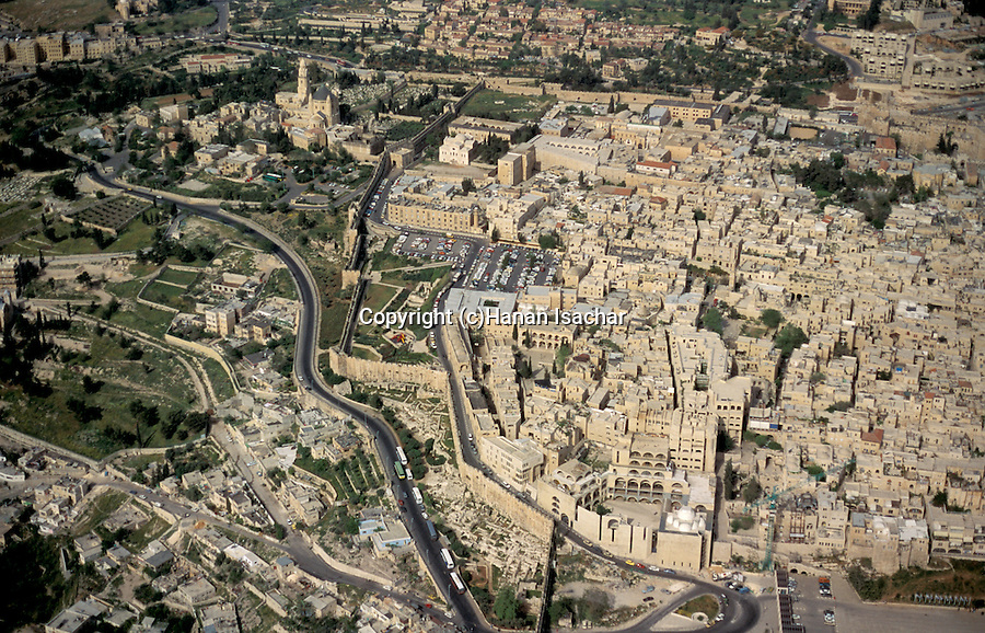 Israel, Jerusalem, an aerial view of Jerusalem Old City and Mount Zion