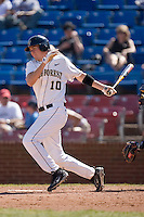 Shane Kroker #10 of the Wake Forest Demon Deacons follows through on his swing versus the Virginia Cavaliers at Wake Forest Baseball Park March 8, 2009 in Winston-Salem, NC. (Photo by Brian Westerholt / Four Seam Images)