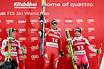 Matthias Mayer, Dominik Paris, Georg STREITBERGER at the podium of the Men's Super-G of the Alpine FIS Ski World Cup on 23/01/2015 in Kitzbuehel, Austria.