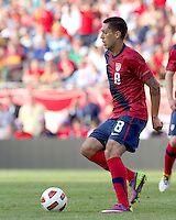 USA midfielder Clint Dempsey (8) at midfield. In a friendly match, Spain defeated USA, 4-0, at Gillette Stadium on June 4, 2011.